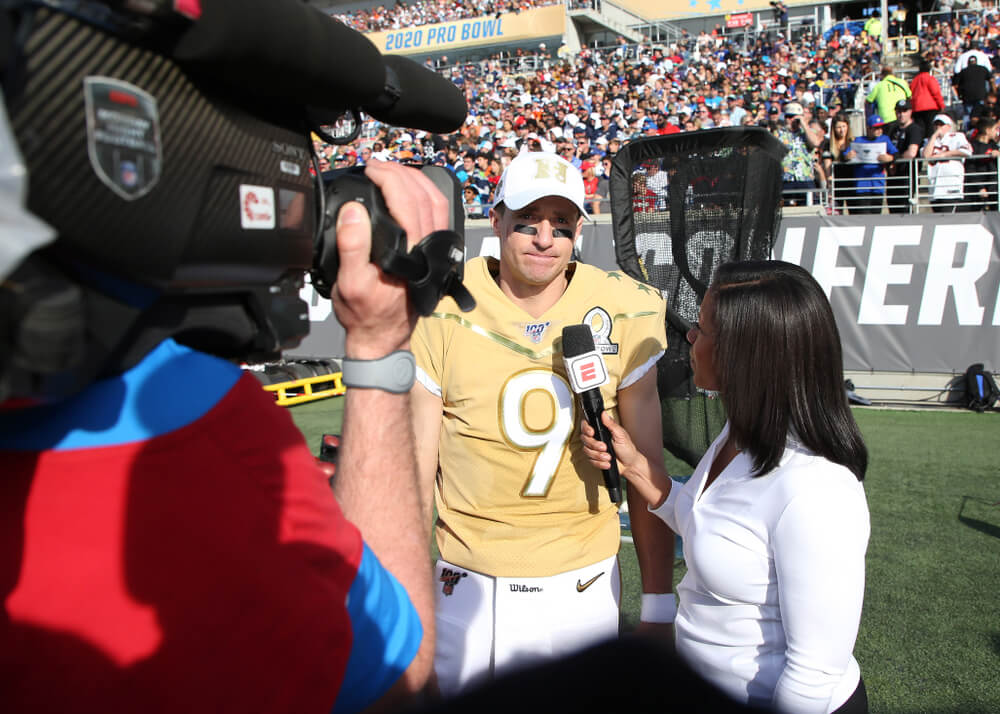 Drew Brees gives an interview at the NFL Pro Bowl